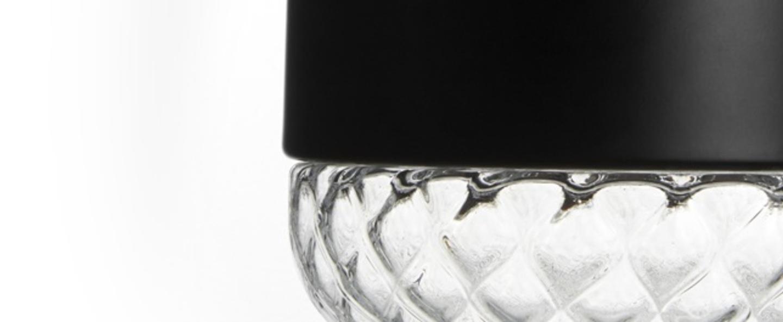Suspension balloton 7212 1 acorn mini noir et transparent o20cm h25cm mm lampadari normal