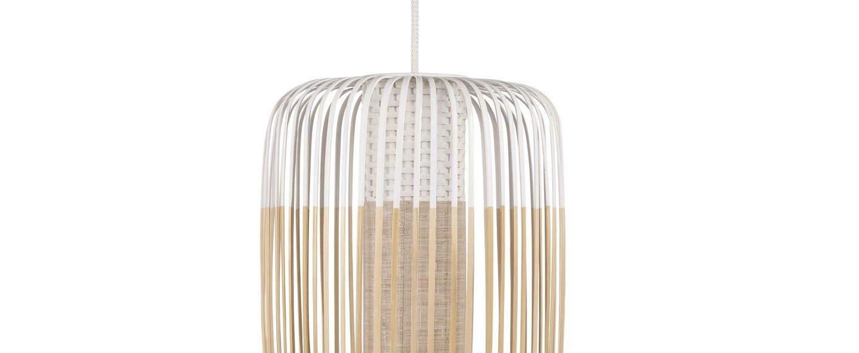 Suspension bamboo light l blanc o35cm h50cm forestier normal
