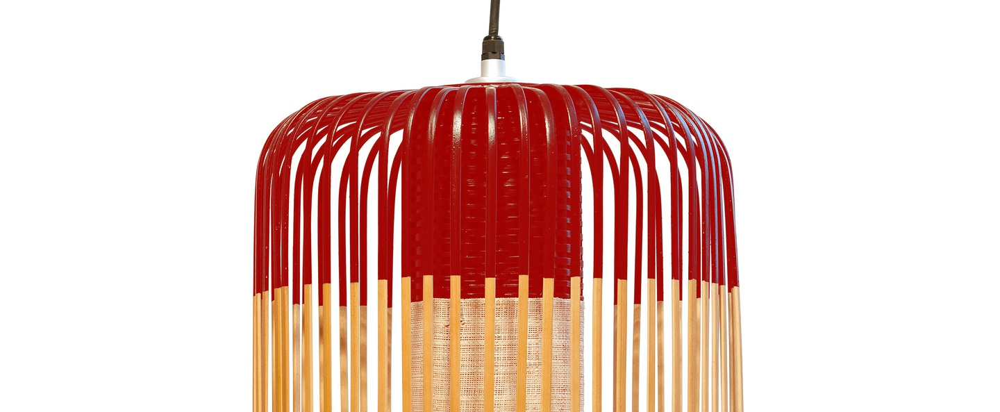 Suspension bamboo light l red bambou rouge h50cm forestier normal