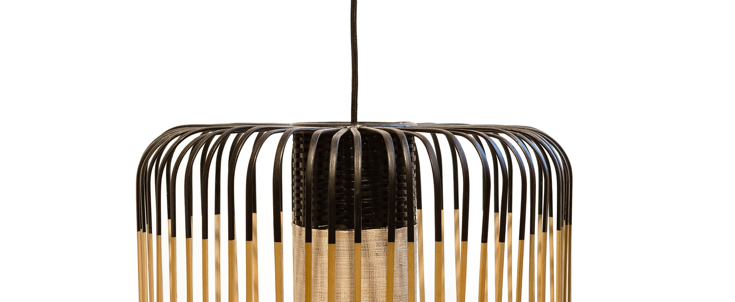 Suspension bamboo light m black bambou noir h40cm forestier normal