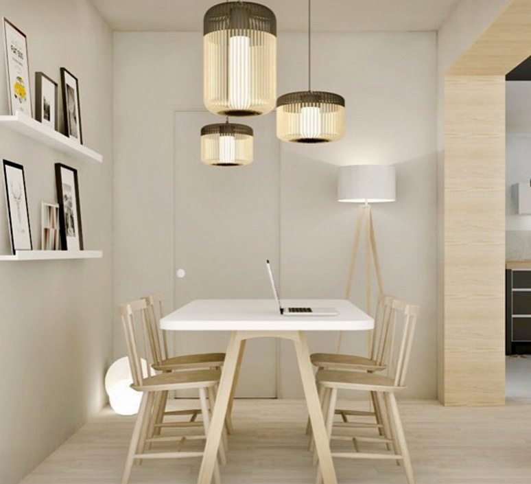 Pendant Light Bamboo Light M Black Bamboo Black H40cm