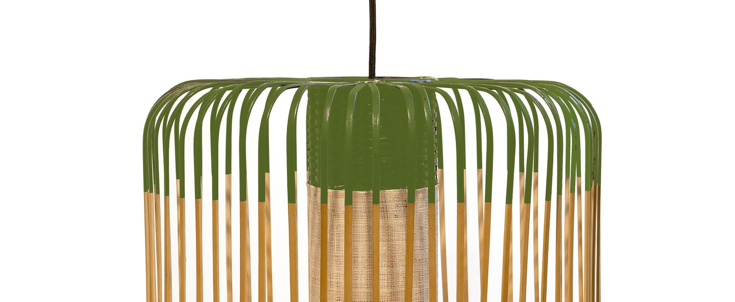 Suspension bamboo light m green bambou vert o45cm forestier normal