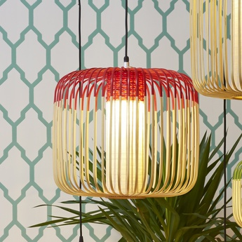 Suspension bamboo light m red bambou rouge o45cm forestier normal