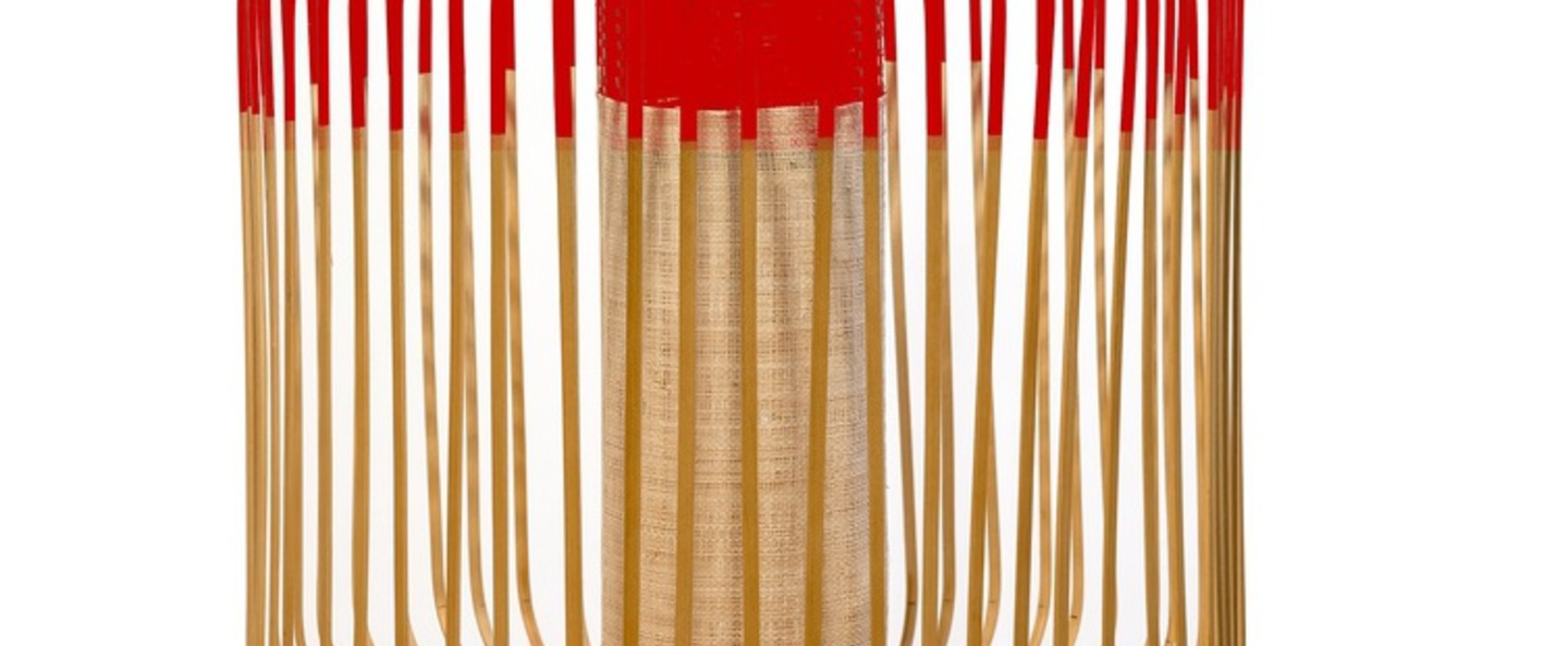 Suspension bamboo light outdoor m rouge o45cm h40cm forestier normal