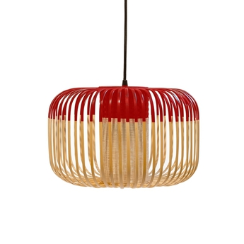 Suspension bamboo light outdoor s rouge o35cm h23cm forestier normal