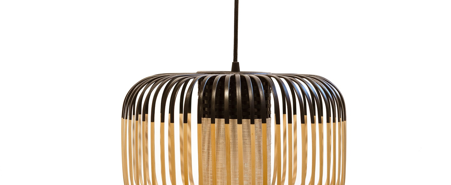 Suspension bamboo light s black bambou noir h23cm forestier normal
