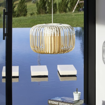 Suspension bamboo light s blanc led o35cm h23cm forestier normal
