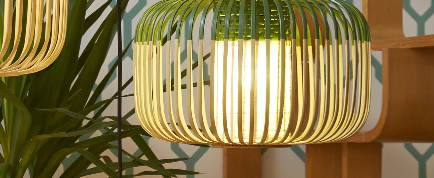 Suspension bamboo light s green bambou vert o35cm forestier normal
