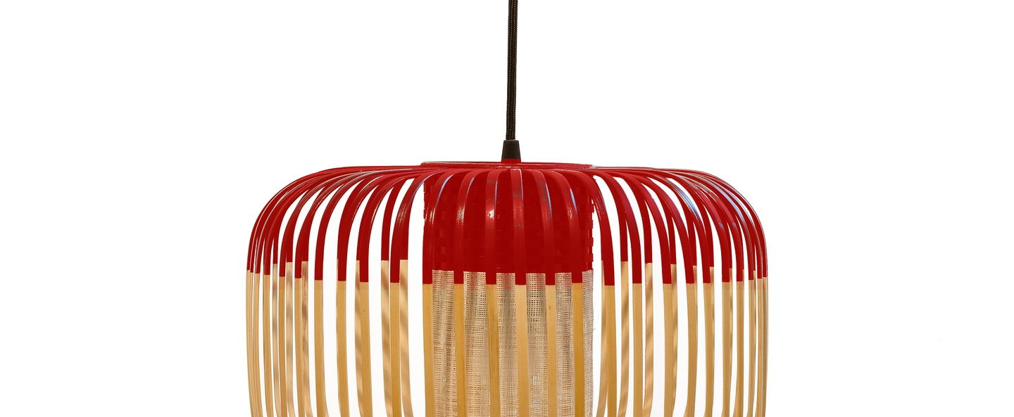 Suspension bamboo light s red bambou rouge o35cm forestier normal