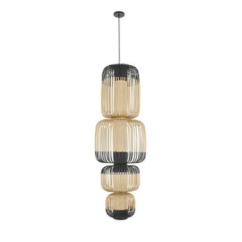 Suspension bamboo light totem noir o45cm h135cm forestier normal