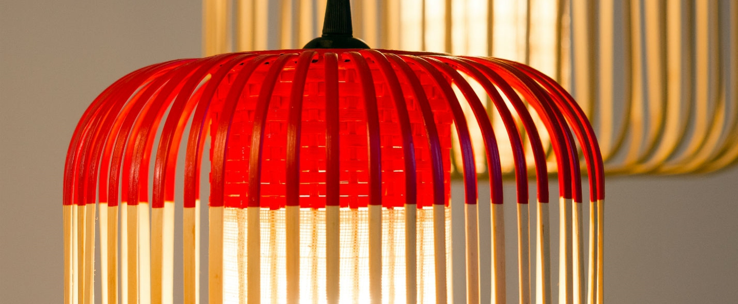 Suspension bamboo light xs red bambou rouge o27cm forestier normal