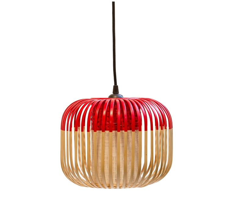 suspension bamboo light xs red bambou rouge 27cm forestier luminaires nedgis. Black Bedroom Furniture Sets. Home Design Ideas