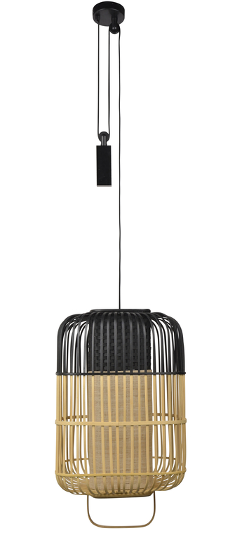 Suspension bamboo square l noir o38cm h61 5cm forestier normal