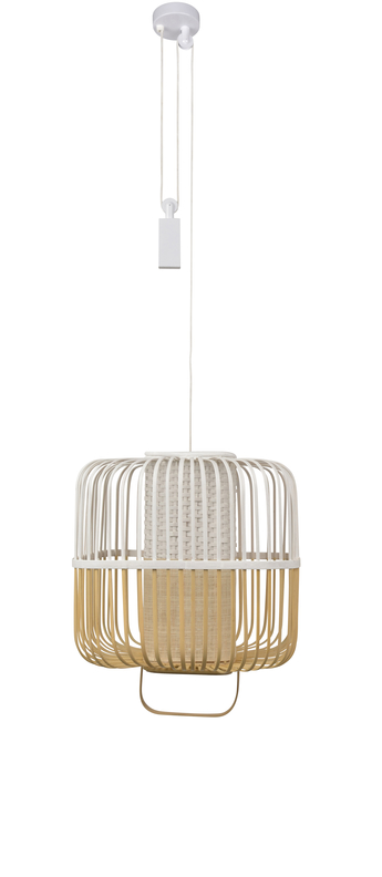 Suspension bamboo square m blanc o52cm h43cm forestier normal