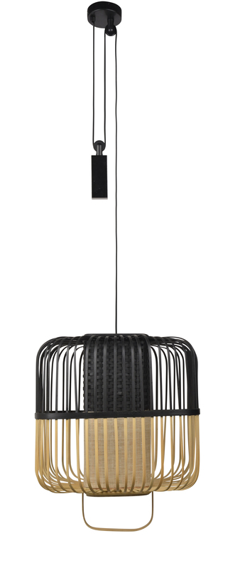 Suspension bamboo square m noir o52cm h43cm forestier normal
