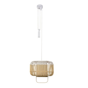 Suspension bamboo square s blanc o36 5cm h34 5cm forestier normal
