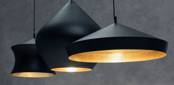 Suspension beat black trio linear pendant system noir et or led l170cm h86cm tom dixon normal
