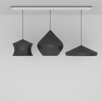 Suspension beat black trio linear pendant system noir et or led l170cm h86cm tom dixon normal