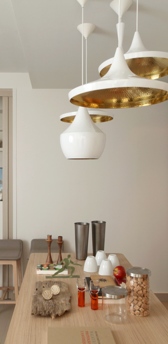 Suspension beat wide blanc et laiton o36cm tom dixon normal