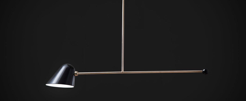 Suspension beghina noir brillant laiton led 3000k 200lm l99cm h47cm tato italia normal