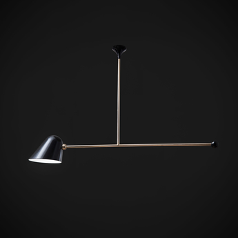 Suspension beghina noir brillant laiton led 3000k 200lm l99cm h47cm tato italia normal