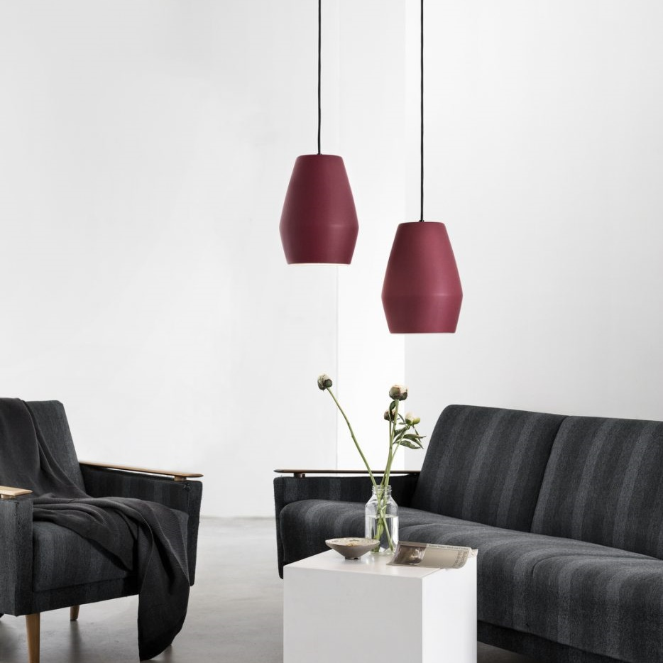 Awesome Pendant Light, Bell Burgundy Matt, Red, H28cm   Northern Lighting   Nedgis  Lighting