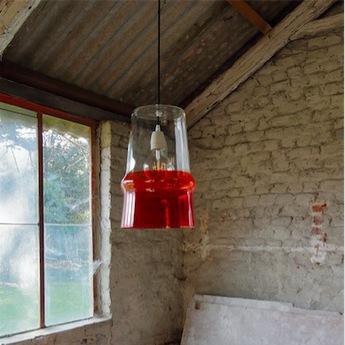 Suspension belle d i color transparent rouge orange h38cm hind rabii normal