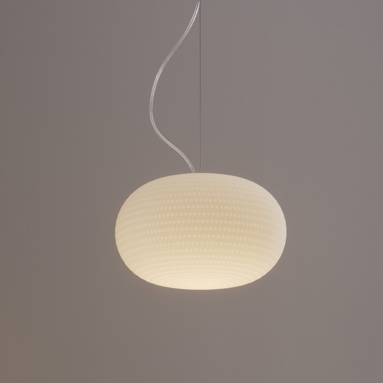 Suspension bianca led blanc 30cm fontana arte for Luminaire suspension blanc