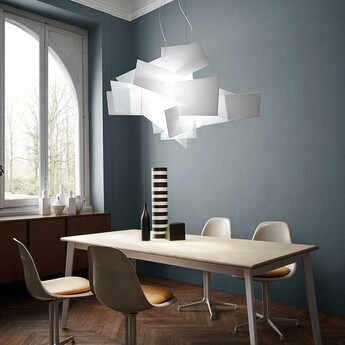 Suspension big bang l blanc dimmable led 3000k 6084lm l144cm h99cm foscarini normal