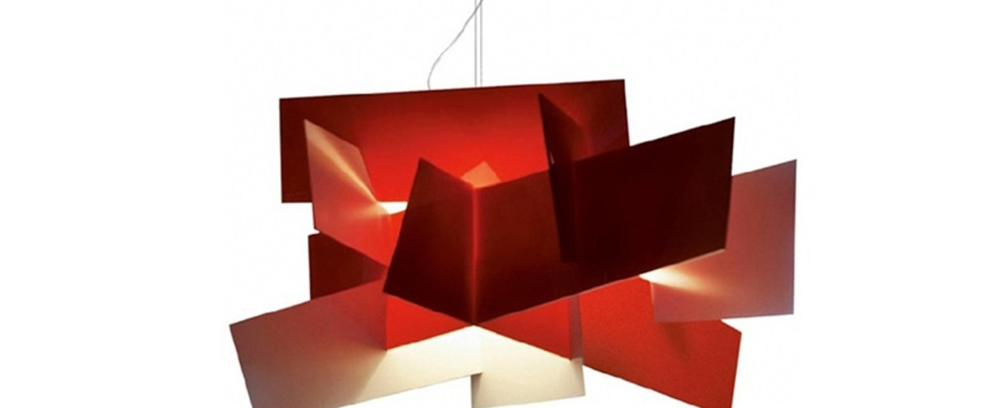 Suspension big bang l rouge dimmable led 3000k 6084lm l144cm h99cm foscarini normal