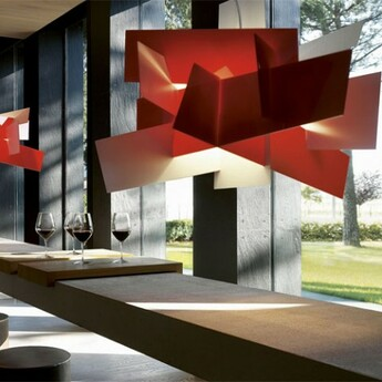 Suspension big bang xl rouge dimmable led 3000k 9126lm l192cm h132cm foscarini normal