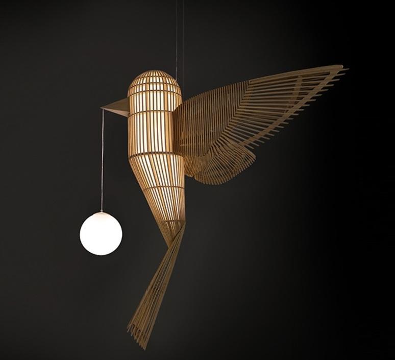 Big bird vertical  suspension pendant light  lzf bird ls v led dim0 10v  design signed nedgis 119949 product