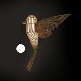 Suspension big bird vertical naturel l244cm h180cm lzf normal