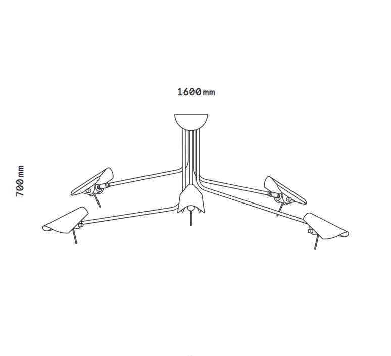 Bird 5 bras daniel gallo suspension pendant light  daniel gallo bird 5 bras  design signed 59551 product