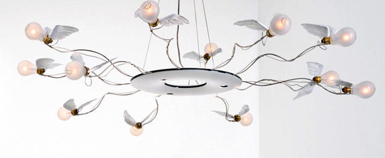 Suspension birdie s ring led blanc transparent o120cm h180cm ingo maurer normal
