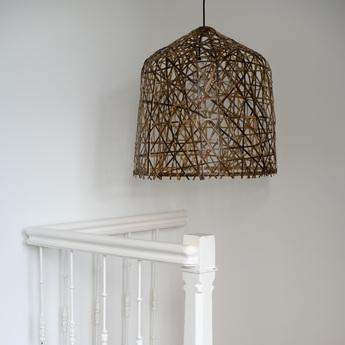 Suspension black bird s nest small naturel o39cm h47cm ay illuminate normal