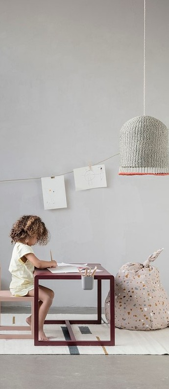 Suspension braided lampshade gris led o32cm h37cm ferm living normal