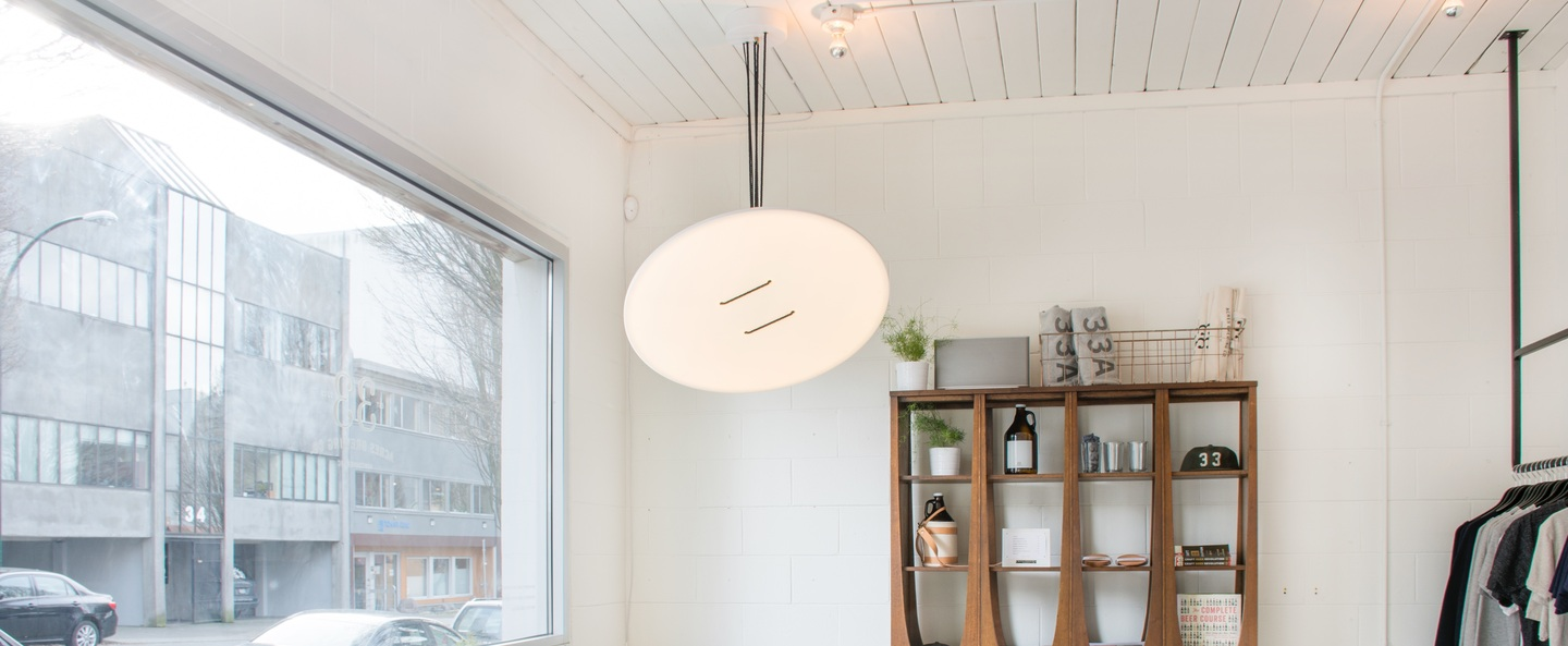 Suspension button 90 blanc led dimmable 2700k o90cm h2 5cm andlight normal