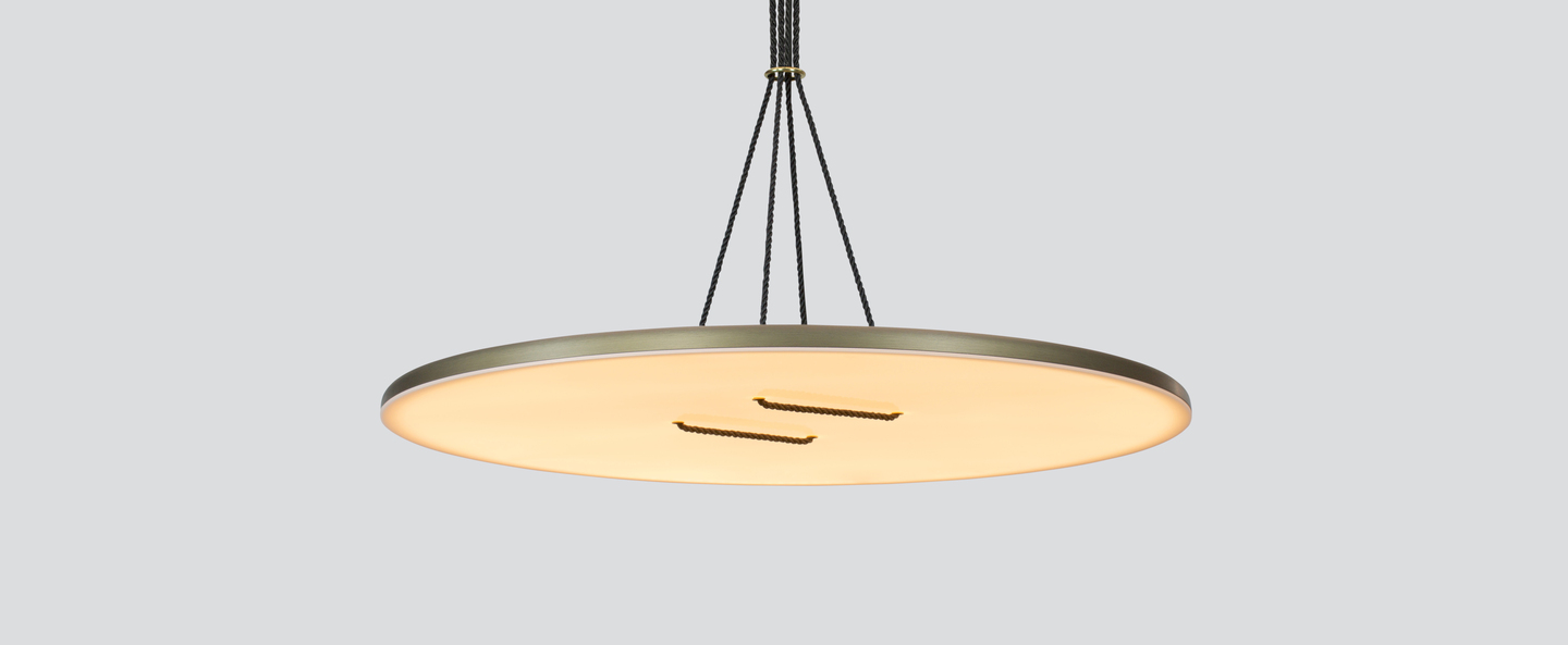 Suspension button 90 bronze blanc led dimmable 2700k o90cm h2 5cm andlight normal