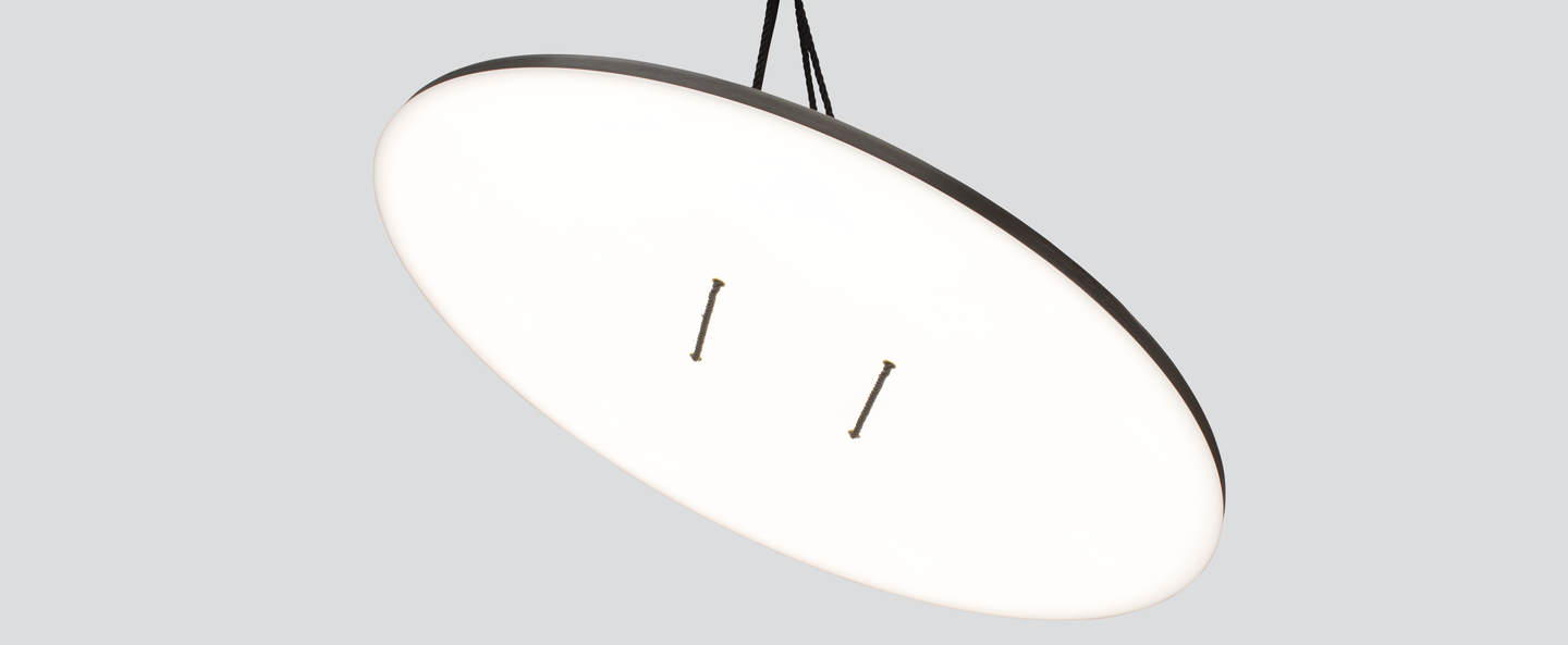 Suspension button 90 noir blanc led dimmable 2700k o90cm h2 5cm andlight normal