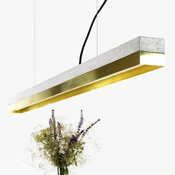 Suspension c1 brass pendant light beton laiton l122cm h8cm gantlights normal