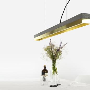Suspension c1 brass pendant light beton noir laiton h8cm gantlights normal