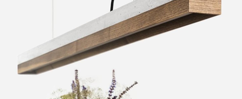 Suspension c1 noyer beton gris clair l122cm h8cm 2700k 2000lm dimmable gantlights normal