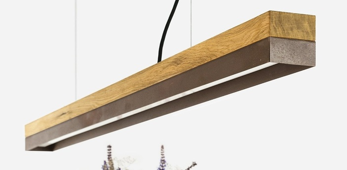 Suspension c1o chene acier rouille led l122cm h8cm 2700k dimmable gantlights normal