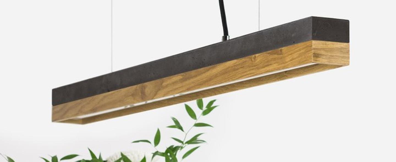 Suspension c2m beton anthracite chene led o92cm h7cm 2 metres cable gantlights normal