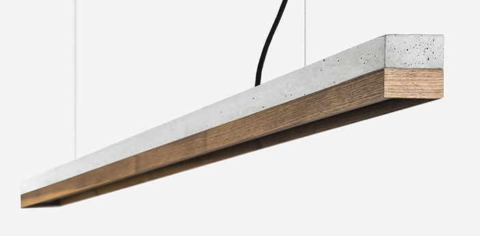 Suspension c3 beton gris clair et noyer led 2700k 2600lm l182cm h8cm gantlights normal