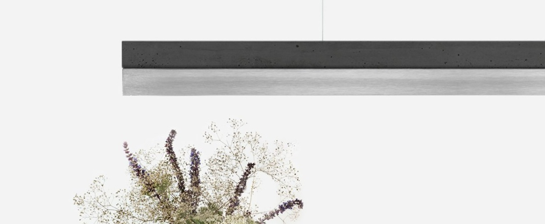 Suspension c3 beton gris fonce acier inoxydable l182cm h8cm 2700k dimmable gantlights normal