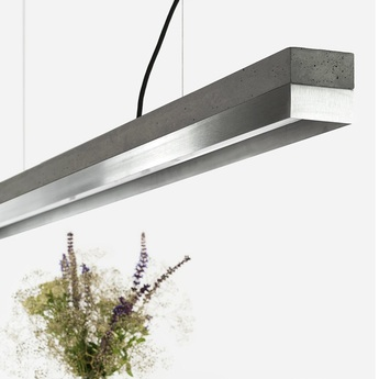 Suspension c3 beton gris fonce acier inoxydable l182cm h8cm 2700k dimmable gantlights normal