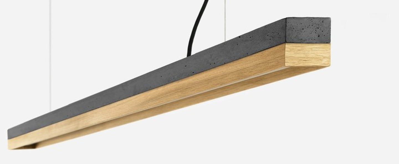 Suspension c3 chene beton gris fonce l182cm h8cm 2700k dimmable gantlights normal