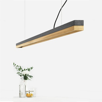 Suspension c3 chene beton gris fonce l182cm h8cm 2700k dimmable gantlights normal